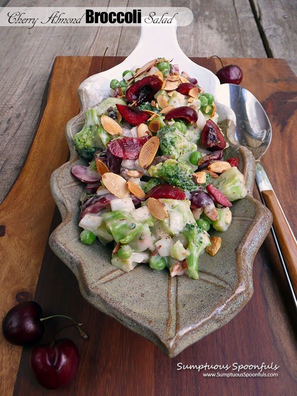 Cherry Almond Broccoli Salad ~ Sumptuous Spoonfuls #easy #summer #potluck #salad #recipe