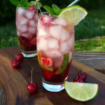 Cherry Lime Mojitos ~ Sumptuous Spoonfuls #mint #lime #cherry #rum #cocktail #recipe