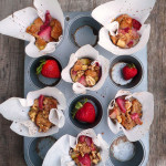Strawberry Rhubarb Bread Pudding Cups ~ Sumptuous Spoonfuls #dessert for #breakfast #muffins