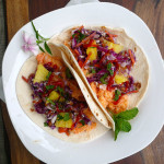 Hawaiian Shrimp Street Tacos ~ Sumptuous Spoonfuls #tropical #shrimp #tacos #recipe
