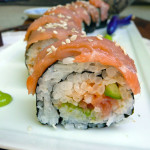 Smoked Salmon Avocado Sushi Roll ~ Sumptuous Spoonfuls #safe #homemade #sushi #recipe