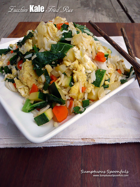 Zucchini Kale Fried Rice ~ Sumptuous Spoonfuls #healthy #Asian #zucchini #friedrice #recipe