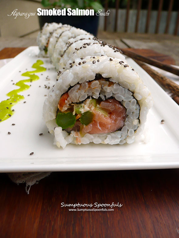 Asparagus Smoked Salmon Sushi ~ Sumptuous Spoonfuls #homemade #smokedsalmon #sushi #recipe