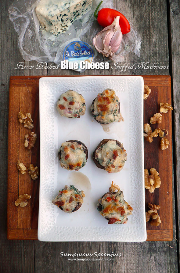 Bacon Walnut Blue Cheese Stuffed Mushrooms ~ Sumptuous Spoonfuls #bacon #bluecheese #stuffed #mushrooms #recipe