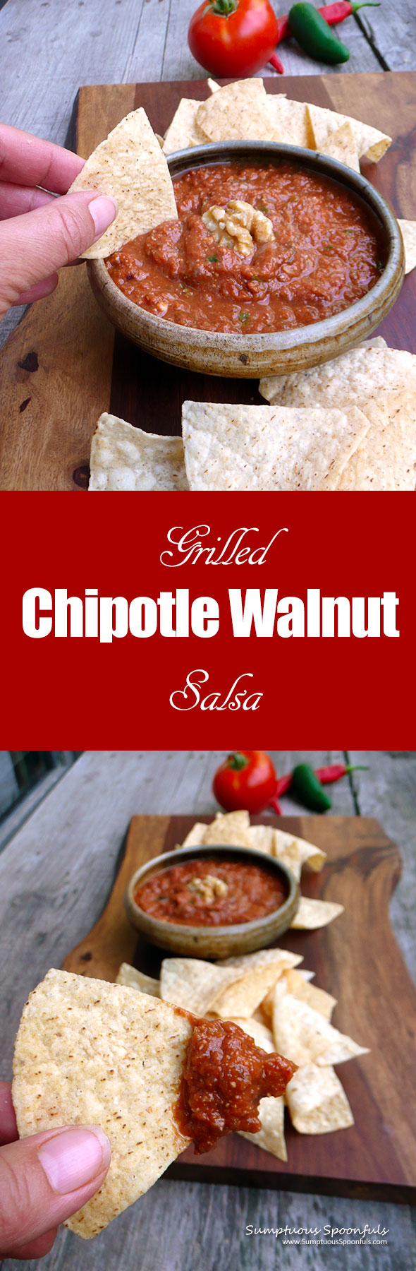 Grilled Chipotle Walnut Salsa ~ Sumptuous Spoonfuls #spicy #smoky #salsa #recipe