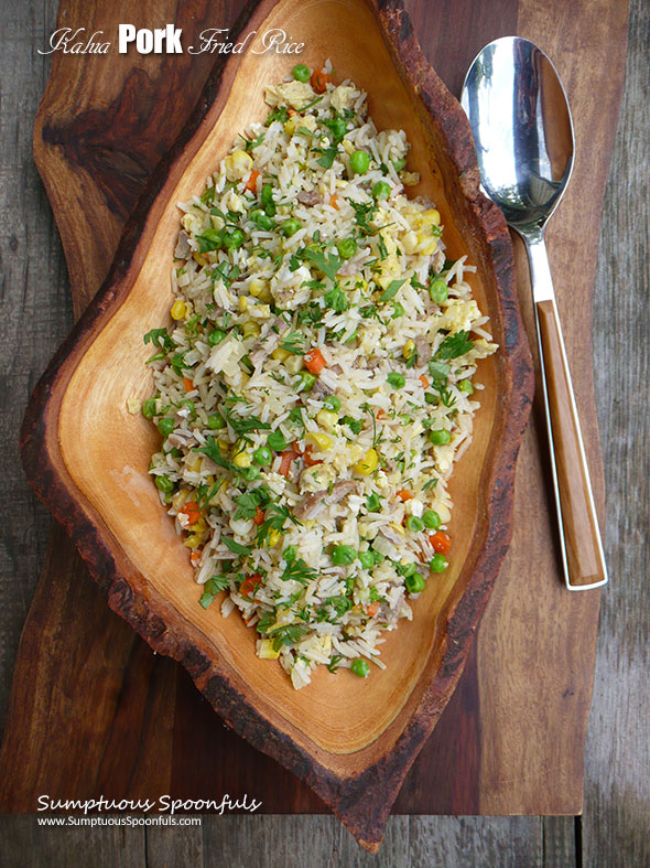 Kalua Pork Fried Rice ~ Sumptuous Spoonfuls #pork #friedrice #recipe