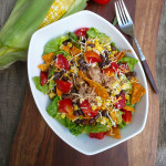 Modern Taco Salad w/Shredded Pork, Black Beans, Corn & a Sriracha Ranch dressing ~ Sumptuous Spoonfuls #taco #salad #copycat #recipe
