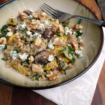 Roasted Mushroom Kale Quinoa Salad with blue cheese crumbles & toasted walnuts ~ Sumptuous Spoonfuls #mushroom #kale #quinoa