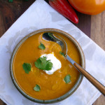 Cardamom Curry Eggplant Tomato Soup ~ Sumptuous Spoonfuls #hearty #healthy #spicy #soup #recipe
