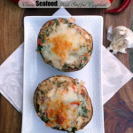 Cheesy Seafood Kale Stuffed Eggplant ~ Sumptuous Spoonfuls #seafood #stuffed #eggplant #recipe