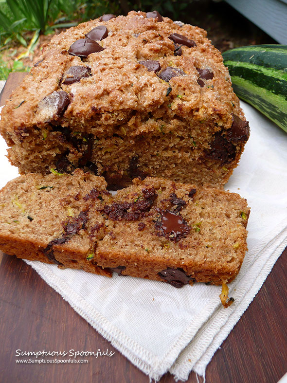 Peanut Butter Chocolate Chip Zucchini Bread ~ Sumptuous Spoonfuls #zucchini #bread #recipe
