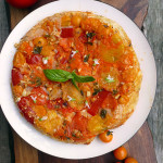 Tomato Basil Upside Down Focaccia ~ Sumptuous Spoonfuls #cheesy #onion #tomato #focaccia #recipe