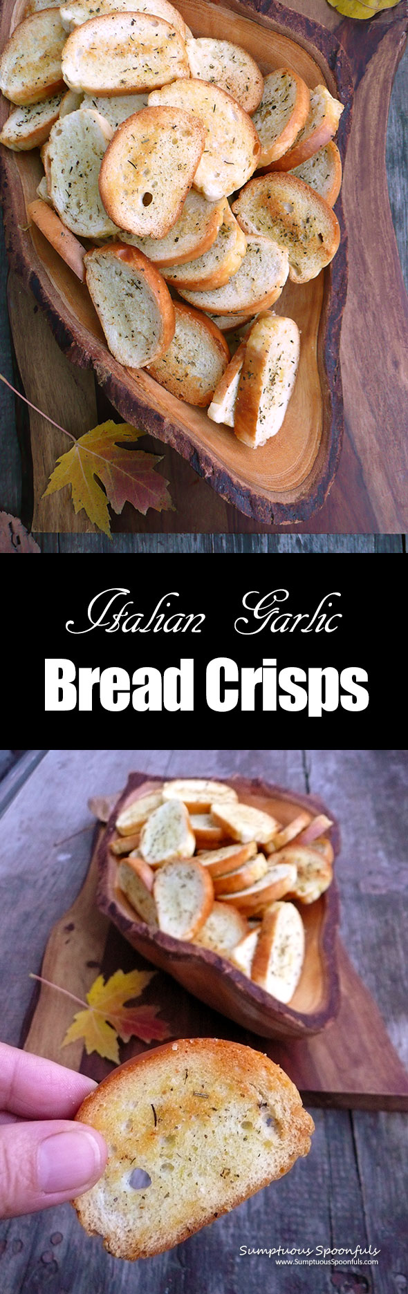 Italian Garlic Bread Crisps ~ Sumptuous Spoonfuls #easy #crunchy #snack #recipe