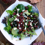 Cranberry Fig Salad with Pomegranate, Blue Cheese Crumbles, Toasted Pecans and Balsamic Vinaigrette ~ Sumptuous Spoonfuls #holiday #salad #recipe
