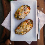 Denver Omelet Stuffed Potato Skins ~ Sumptuous Spoonfuls #breakfast #potato #skins #recipe