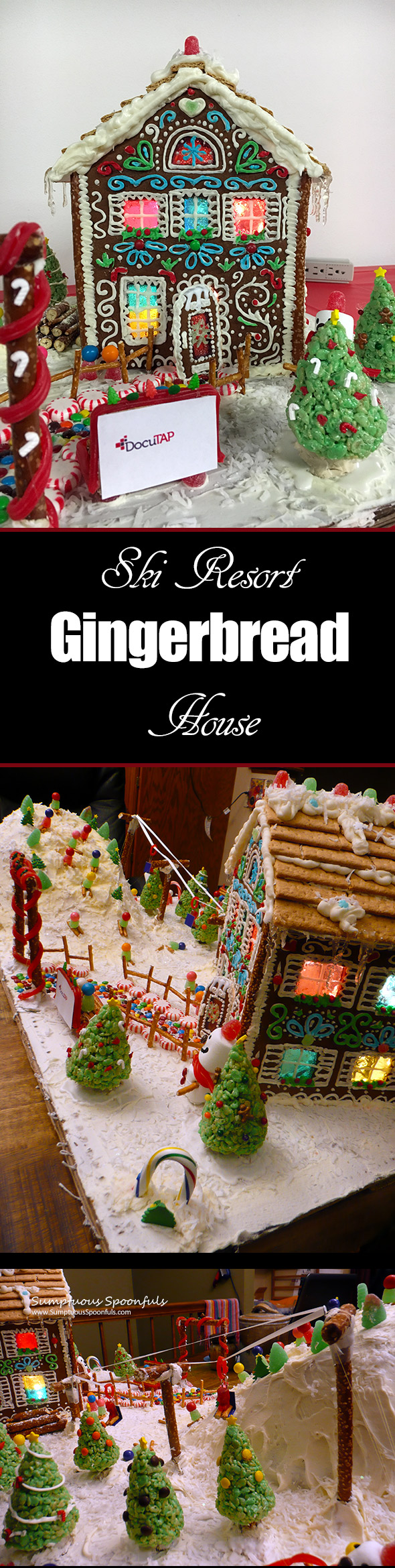 Ski Resort Gingerbread House ~ Sumptuous Spoonfuls gingerbread house journey