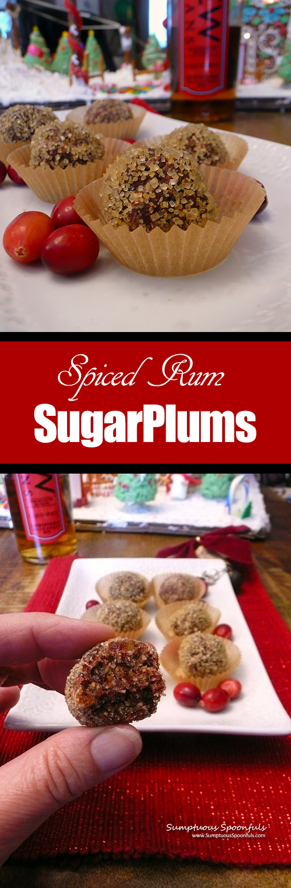 Spiced Rum Sugar Plums ~ Sumptuous Spoonfuls #holiday #dessert #recipe