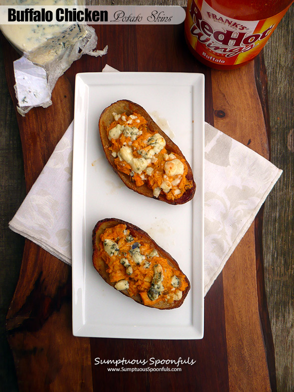 Buffalo Chicken Stuffed Potato Skins ~ Sumptuous Spoonfuls #spicy #appetizer #recipe