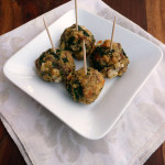 Sausage & White Cheddar Spinach Balls ~ Sumptuous Spoonfuls #cheesy #appetizer #recipe