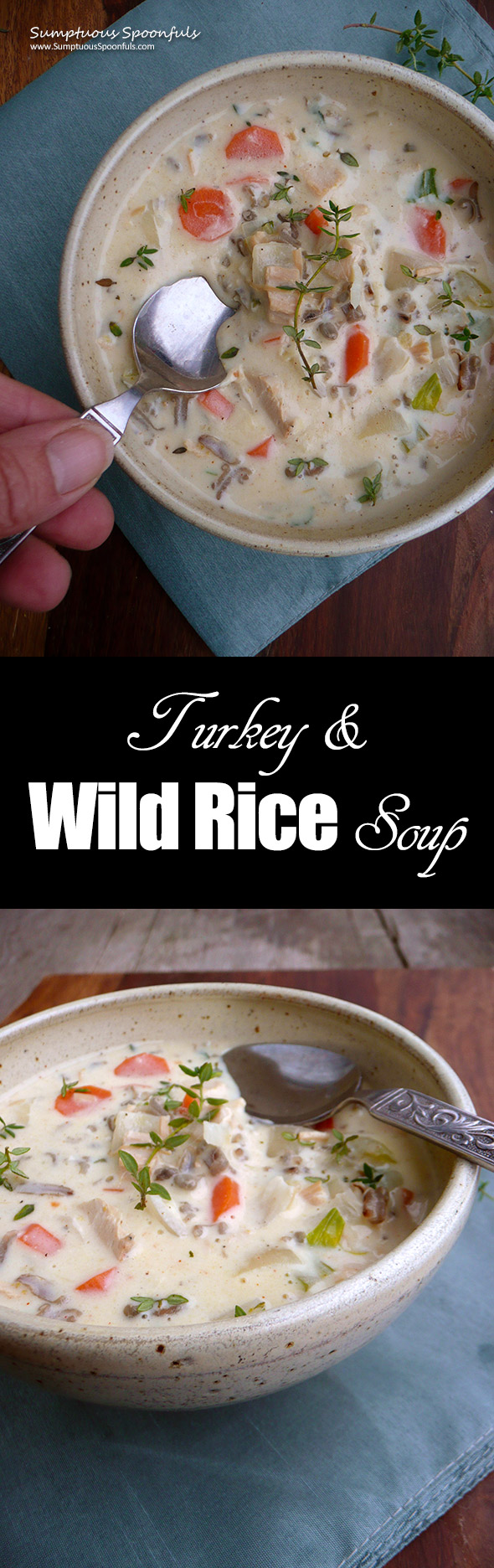 Turkey Wild Rice Soup ~ Sumptuous Spoonfuls #chicken #wildrice #soup #recipe