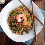 Cashew Shrimp Cauli-Fried Rice ~ Sumptuous Spoonfuls #Cauliflower #Dinner #Recipe #Lowcarb #Healthy #Delicious
