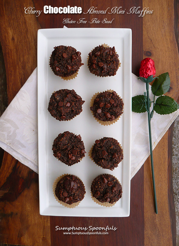 Cherry Chocolate Almond Mini-Muffins~Sumptuous Spoonfuls #glutenfree #hearthealthy #breakfast #recipe