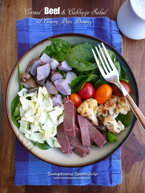 Corned Beef & Cabbage Salad w Roasted Cauliflower and Creamy Dijon Dressing ~ Sumptuous Spoonfuls #Irish #Salad #Recipe