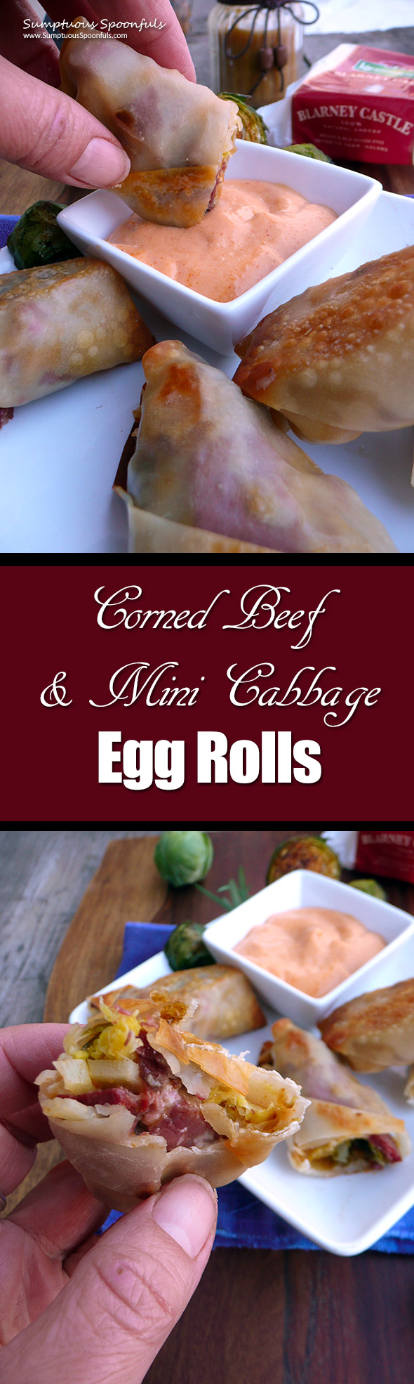 Corned Beef & Mini Cabbage Egg Rolls ~ Sumptuous Spoonfuls #BrusselSprouts #CornedBeef #recipe