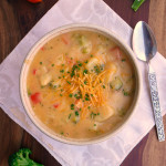 Three Cheese Broccoli Potato Soup ~ Sumptuous Spoonfuls #broccoli #potato #soup #recipe