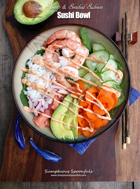 Shrimp & Smoked Salmon Sushi Bowl ~ Sumptuous Spoonfuls #easy #healthy #seafood #recipe