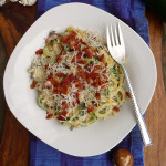 Mushroom Zucchin Carbonara ~ Sumptuous Spoonfuls #healthy #lowcarb #bacon #zoodle #recipe