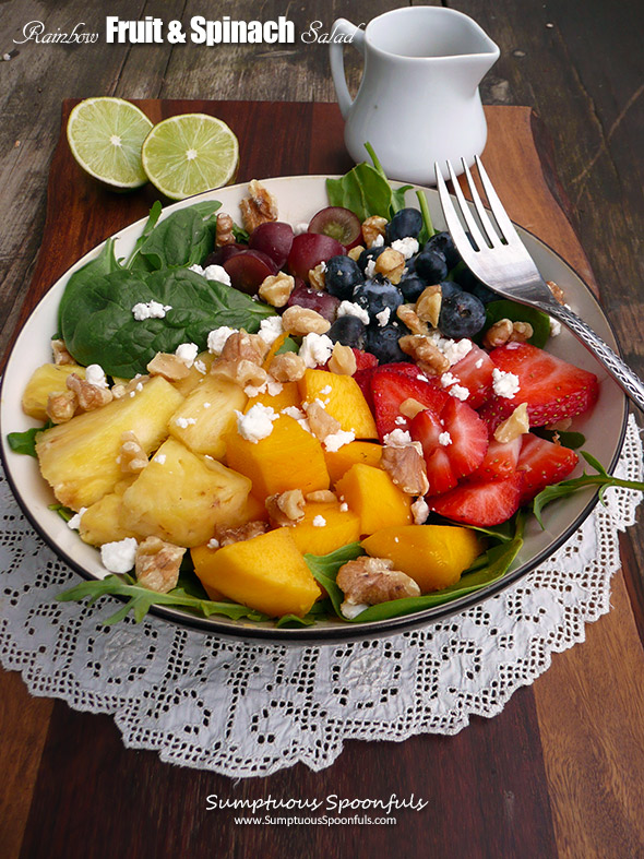 Rainbow Fruit & Spinach Salad with Honey Ginger Lime Dressing