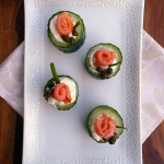 Smoked Salmon Rose Cucumber Cups ~ Sumptuous Spoonfuls #salmon #cucumber #bites #recipe