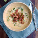 White Cheddar Broccoli Potato Soup ~ Sumptuous Spoonfuls #creamy #cheesy #potato #soup #recipe