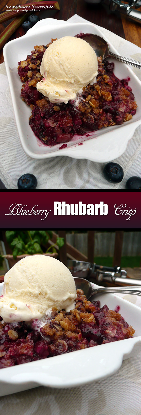 Blueberry Rhubarb Crisp ~ Sumptuous Spoonfuls #easy #blueberry #rhubarb #dessert #recipe