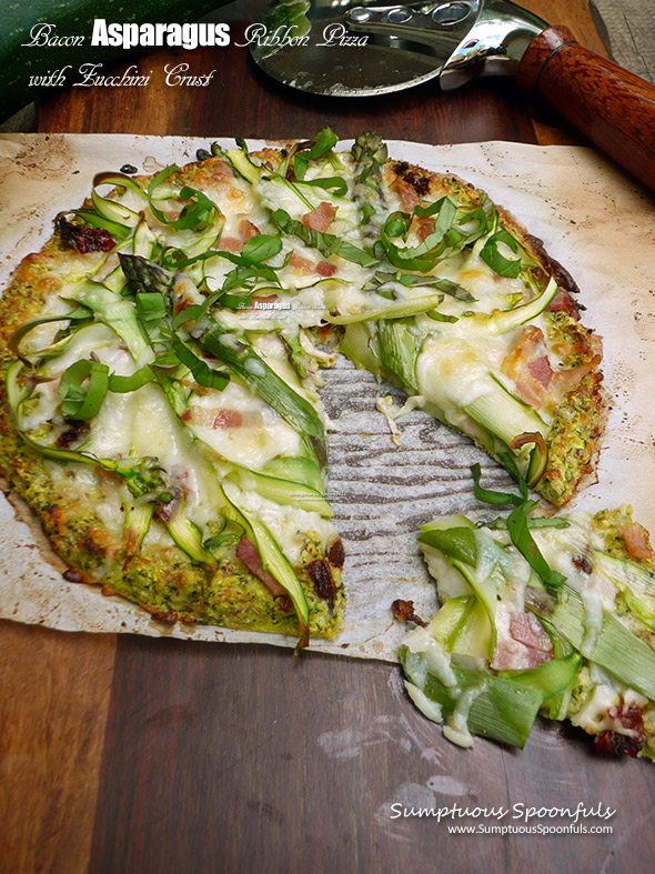 Bacon Asparagus Ribbon Pizza with Zucchini Crust