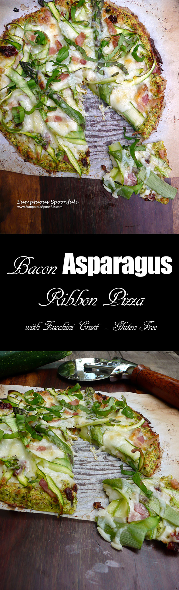 Bacon Asparagus Ribbon Pizza with Zucchini Crust ~ Sumptuous Spoonfuls #healthy #flourless #pizza #recipe