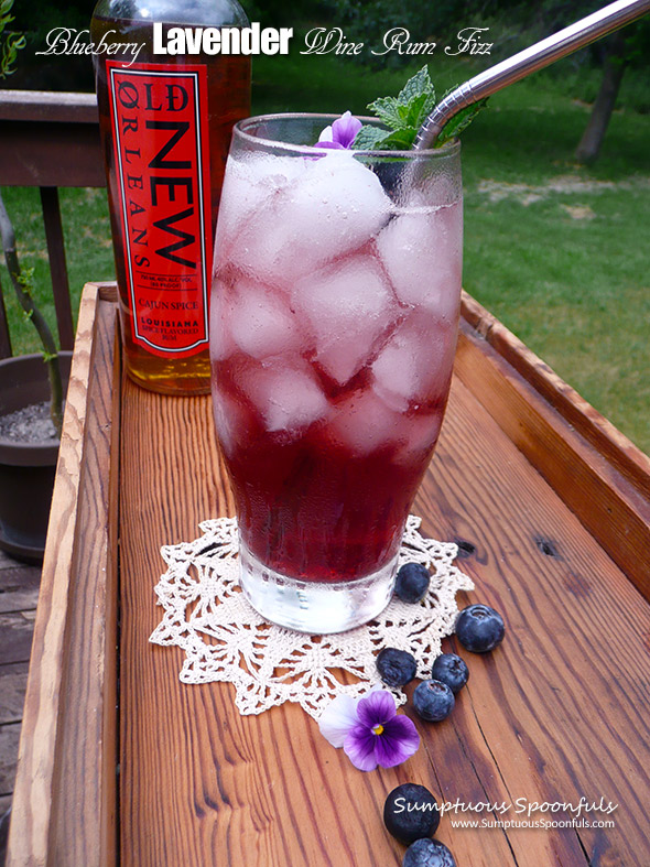 Blueberry Lavender Wine Rum Fizz ~ Sumptuous Spoonfuls #blueberry #cocktail #recipe