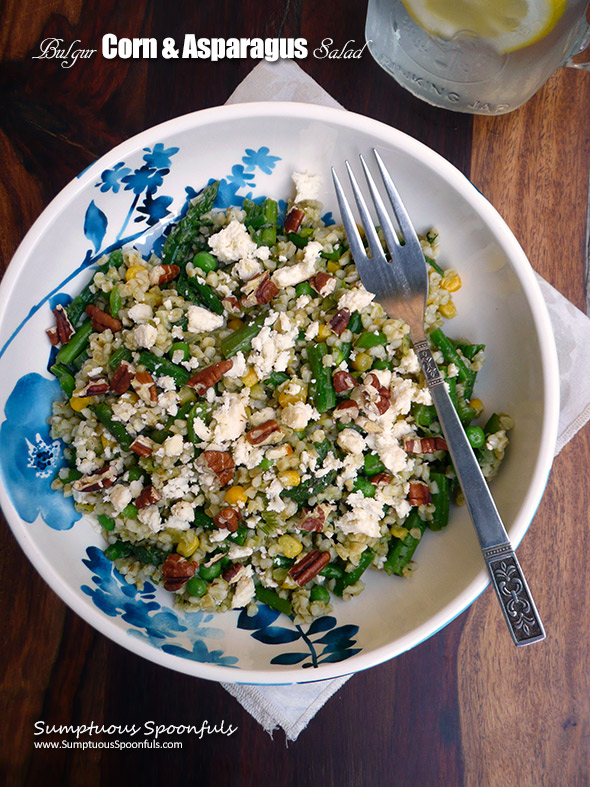 Bulgur, Corn & Asparagus Salad w/Marinated Feta & Dill Pesto ~ Sumptuous Spoonfuls #asparagus #bulgur #salad #recipe