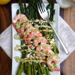 Shrimp & Roasted Asparagus Salad w/Feta, Pine Nuts & Lemon Avocado Crema ~ Sumptuous Spoonfuls #easy #shrimp #asparagus #dinner #recipe
