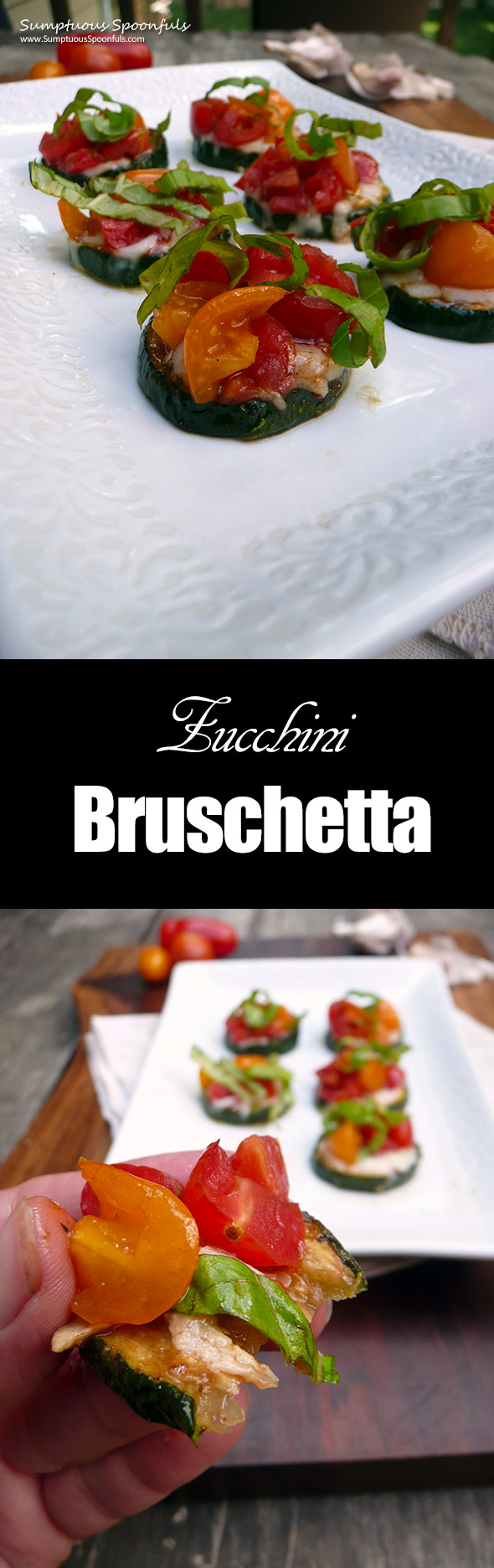 Zucchini Bruschetta ~ Sumptuous Spoonfuls #easy #lowcarb #glutenfree #appetizer #recipe