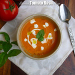 Sherried Tomato Basil Soup with Marinated Feta ~ Sumptuous Spoonfuls #tomato #soup #recipe