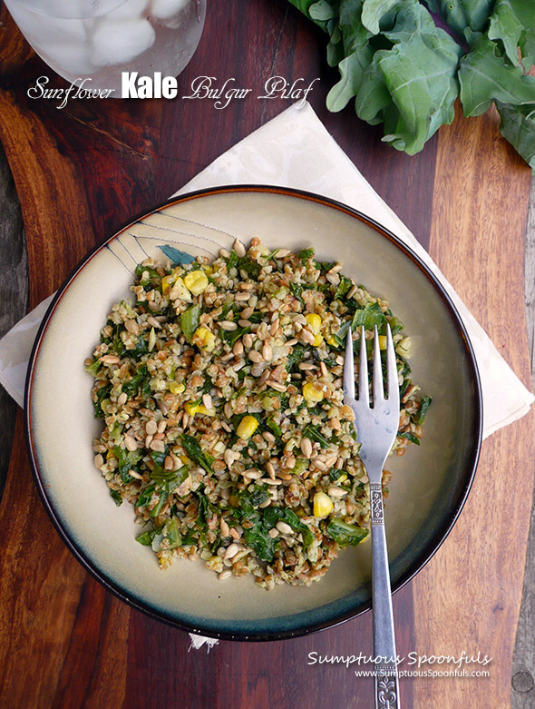 Sunflower Kale Bulgur Pilaf ~ Sumptuous Spoonfuls #yummy #SideDish #recipe