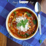 Smoky Supper Soup ~ A hearty meal in a bowl, with a nice smoky flavor from grilling the veggies ~ Sumptuous Spoonfuls #soup #recipe