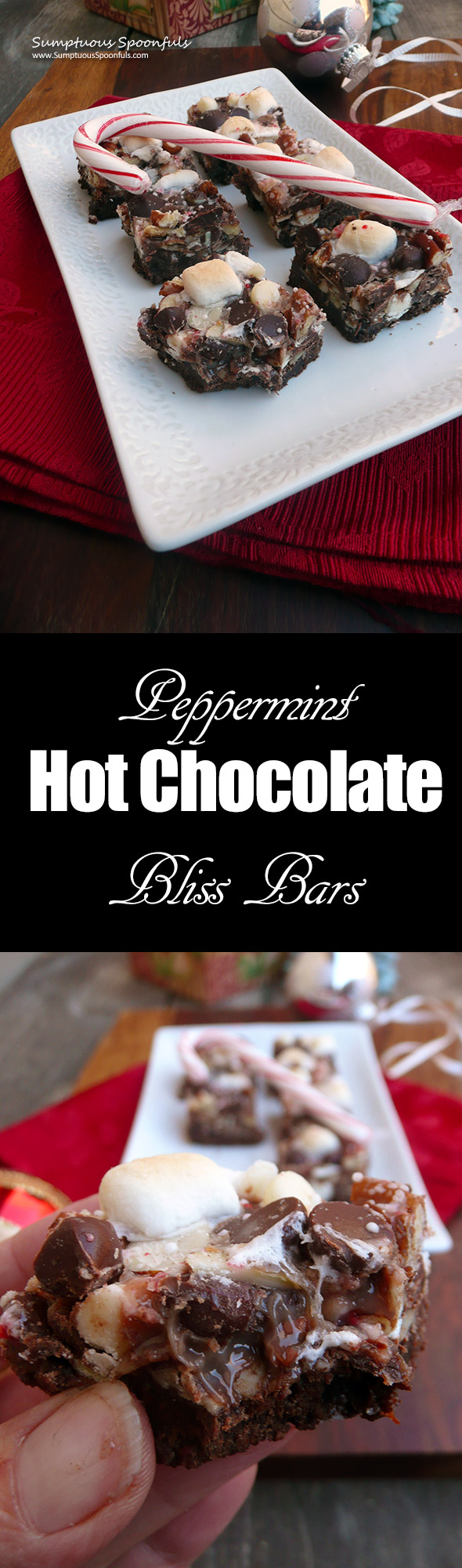 Peppermint Hot Chocolate Bliss Bars ~ Sumptuous Spoonfuls #gooey #chocolate #mint #bars