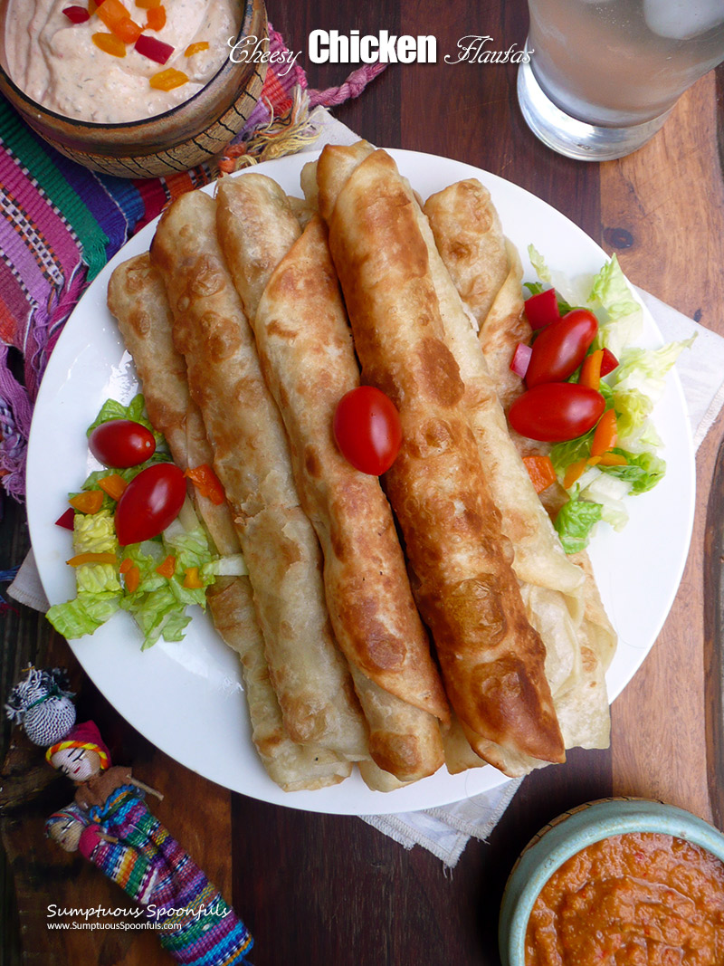 Cheesy Chicken Flautas Baked Or Fried Sumptuous Spoonfuls